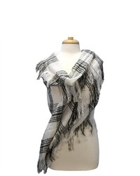 Luxury Divas White Black Soft Checker Winter Twill Scarf Wrap Shawl