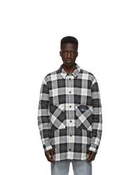Marcelo Burlon County of Milan White And Black Check Logo Puffer Jacket