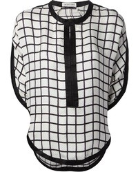 White and Black Plaid Short Sleeve Blouse