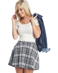 Wet seal textured plaid skater skirt medium 105152