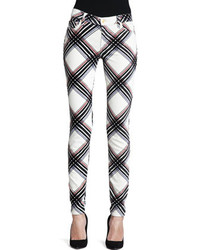 White and Black Plaid Skinny Pants for Women | Women's Fashion