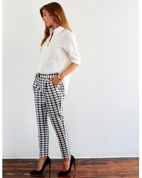 Plaid tapered trouser by nikki chasin medium 145858