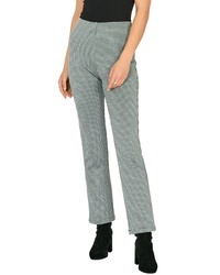 White and Black Plaid Tapered Pants