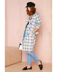 White and Black Plaid Trenchcoat
