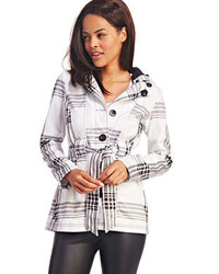Wet seal plaid fleece trench jacket medium 80289