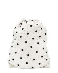 White and Black Polka Dot Backpack