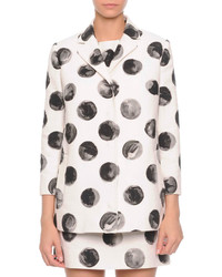 Painted polka dot long jacket whiteblack medium 348966