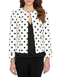 Tahari asl cuffed polka dot open jacket medium 541952