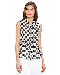 Tahari By Asl Chiffon Polka Dot Blouse