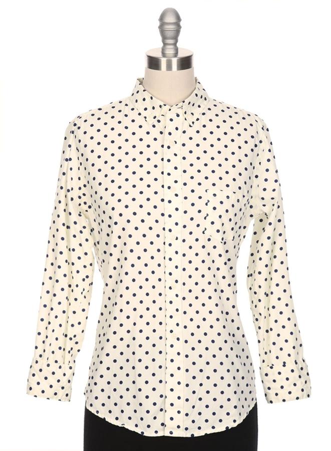 Gitman brothers sisters poplin polka dot button down shirt for Button down polka dot shirt