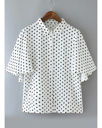 Lapel with buttons polka dot white blouse medium 236315