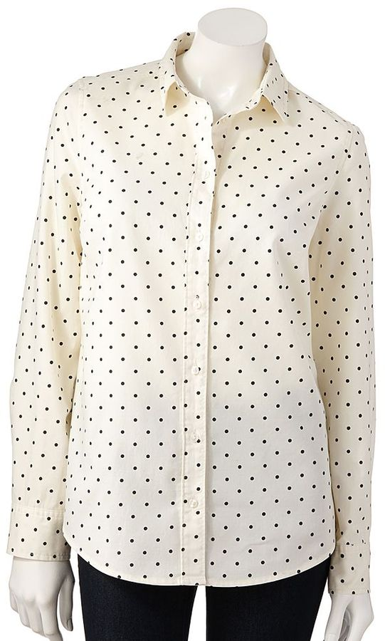 Lauren conrad lc dot oxford shirt where to buy how to wear for Black oxford button down shirt