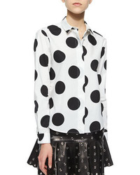 Macro polka dots printed blouse medium 236314