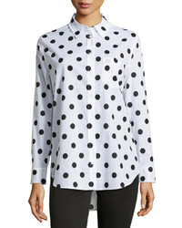 White and Black Polka Dot Chiffon Dress Shirt