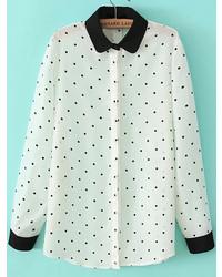 Contrast Collar Polka Dot Blouse