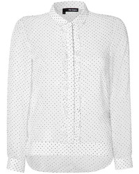 The Kooples Polka Dot Blouse With Front Ruffle
