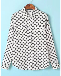 White long sleeve polka dot pockets blouse medium 184886