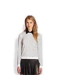 Alice + Olivia Laura Convertible Polka Dot Sweater Cream Black