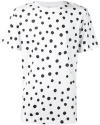 White and Black Polka Dot Crew-neck T-shirt