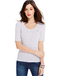 Tommy Hilfiger Polka Dot Scoop Neck Tee