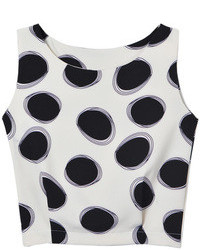 Choies white polka dot cropped vest medium 73894