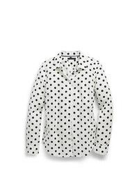 White and Black Polka Dot Dress Shirt