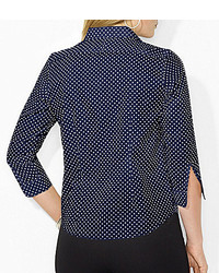 Tommy hilfiger polka dot long sleeve shirt where to buy for Jones new york no iron easy care boyfriend shirt