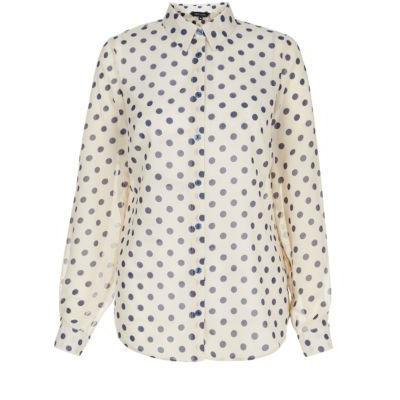 New Look Cream And Blue Polka Dot Long Sleeve Shirt