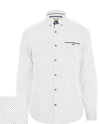 River Island White Polka Dot Shirt