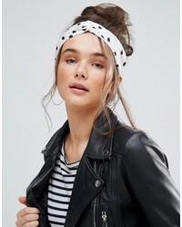 White and Black Polka Dot Headband