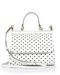 White and Black Polka Dot Leather Satchel Bag