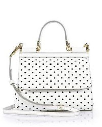 Sicily small polka dot textured leather top handle satchel medium 186569