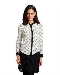 Black and white polka dot silk long sleeve blouse medium 92251