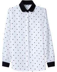 Choies Polka Dot Shirt With Black Collar