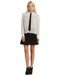 BCBGeneration Polka Dot Blouse With Tie