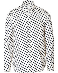 White and Black Polka Dot Long Sleeve Shirt