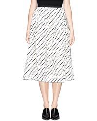 White and Black Polka Dot Midi Skirt