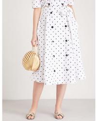 Lisa Marie Fernandez Diana Polka Dot Embroidered Linen Skirt