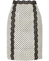 Oscar de la Renta Polka Dot Cotton Blend Pencil Skirt