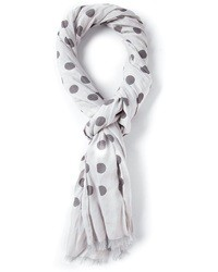 White and Black Polka Dot Scarf