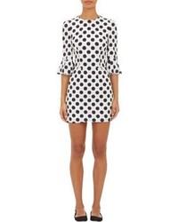 White and Black Polka Dot Sheath Dress