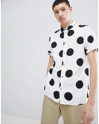 White and Black Polka Dot Short Sleeve Shirt