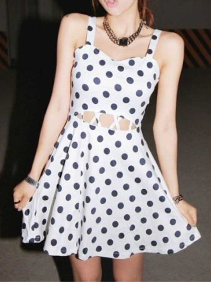 famous brand official site lowest discount Choies White Polka Dot Cut Out Skater Dress, $24 | Choies ...
