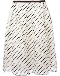 White and Black Polka Dot Skater Skirt