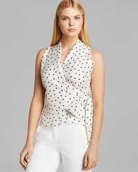 Max Mara Top Eolo Sleeveless Shawl Collar Polka Dot