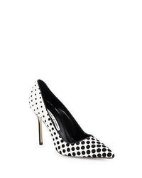 Manolo blahnik bb polka dot calf hair pumps black white medium 228248