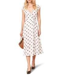 White and Black Polka Dot Wrap Dress