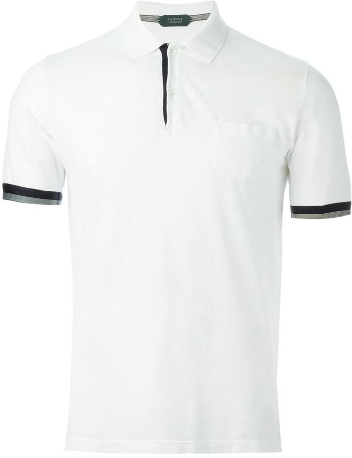 f91b83d5f Zanone Contrast Trim Polo Shirt