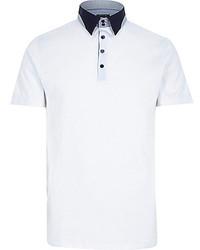 River Island White Contrast Splice Collar Polo Shirt