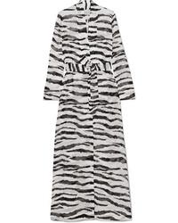 On The Island By Marios Schwab Marigot Zebra Print Silk Tte Robe